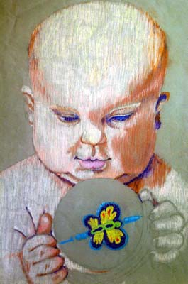 Baby Playing With Rattle - Chalk Sketch