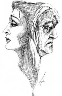 Two Faces of Age - Pencil Sketch
